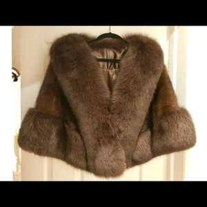 Jackets & Blazers - Mink and Fox trim fur cape shawl wrap $5,500